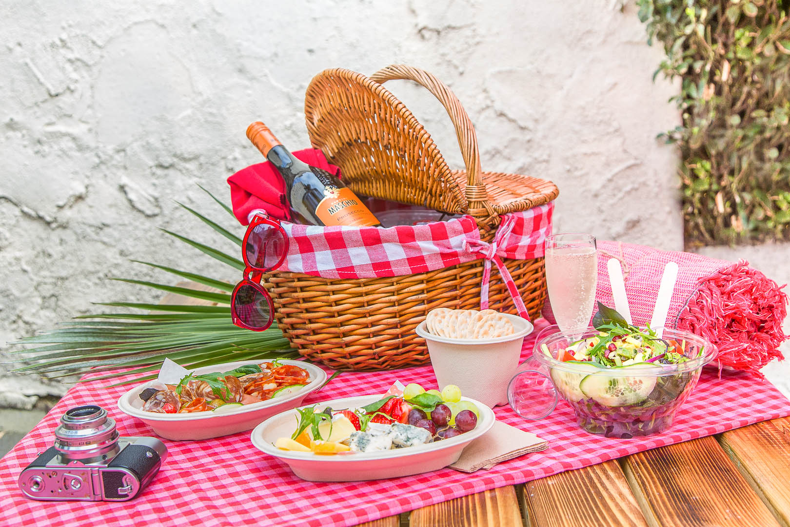 Picnic on a table with basket   Food Photography