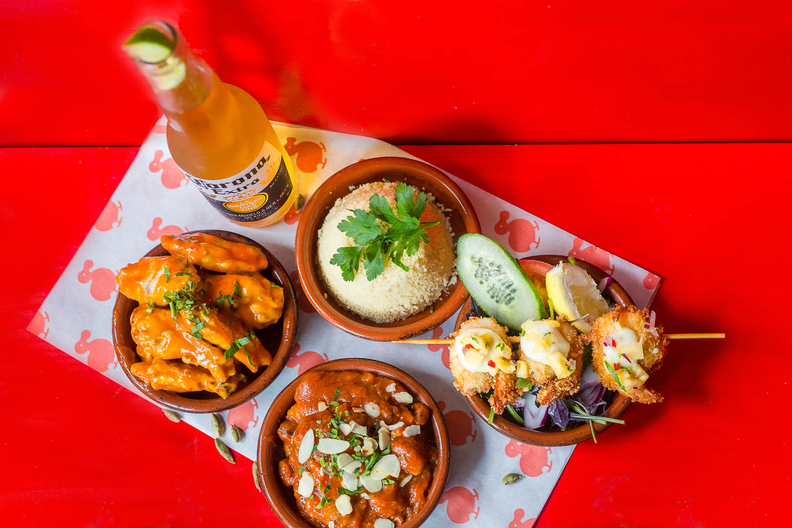 Tapas with beer and red background   Food Photographer Wicklow